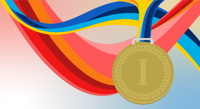 A gold medal and ribbons.
