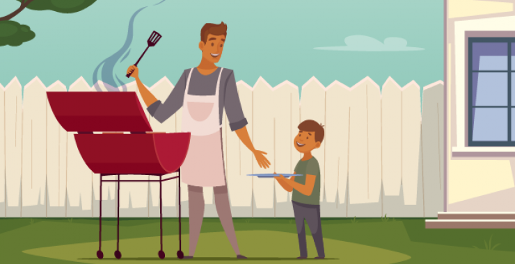 Man barbecuing with his son