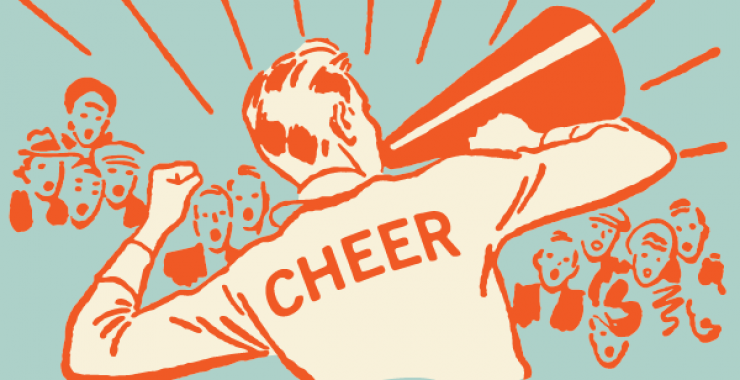 Cheerleader talking to crowd