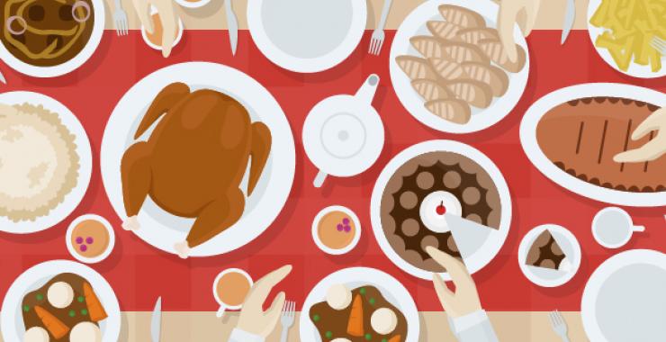 Illustration of Thanksgiving Dinner table