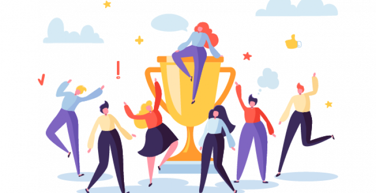 Sitting on top of a gold trophy illustration