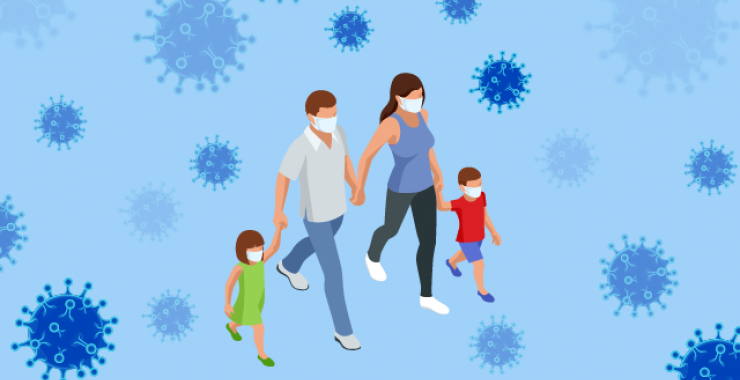 Illustration of a masked family walking