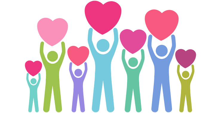 illustration of people holding up hearts