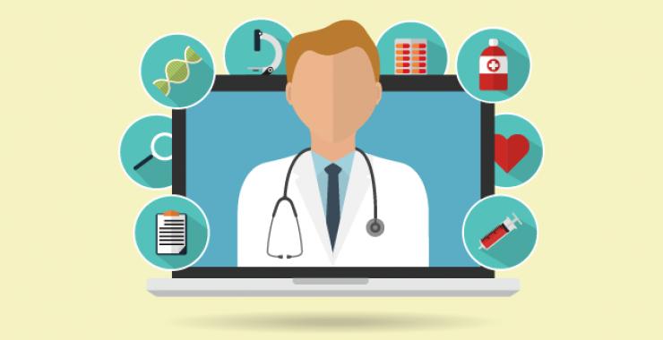 Telehealth physician illustration
