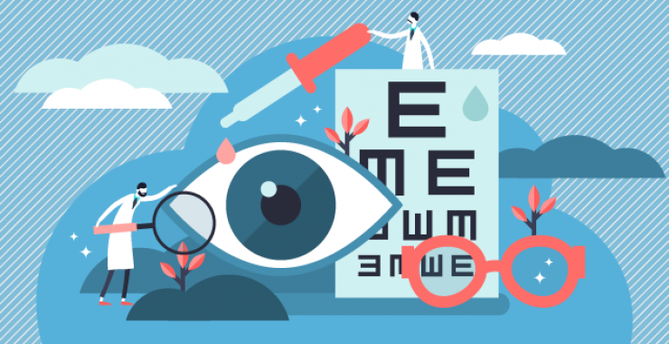 Vision exam illustration - eyeball and chart with doctors