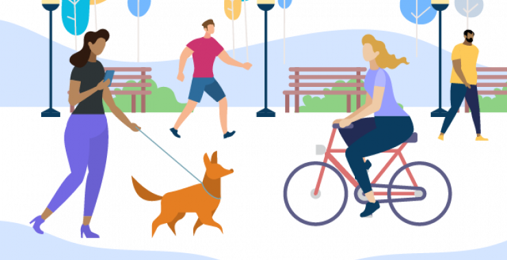 Walking a dog and riding a bike illustration