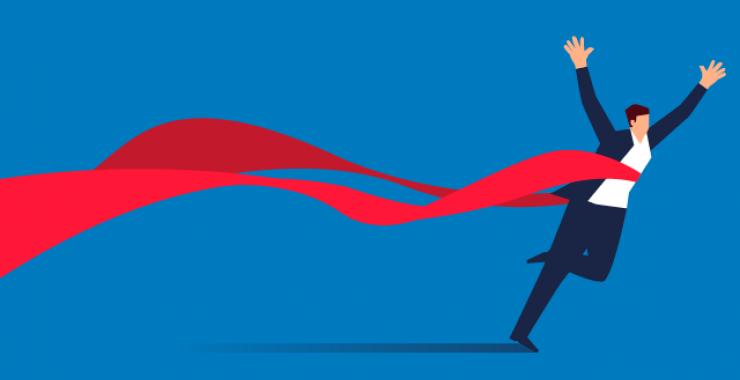 Winning a race running through a ribbon