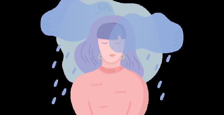 Woman in rain clouds