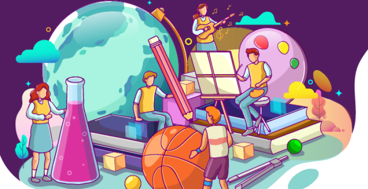 Globe with teachers in front of it - illustrated