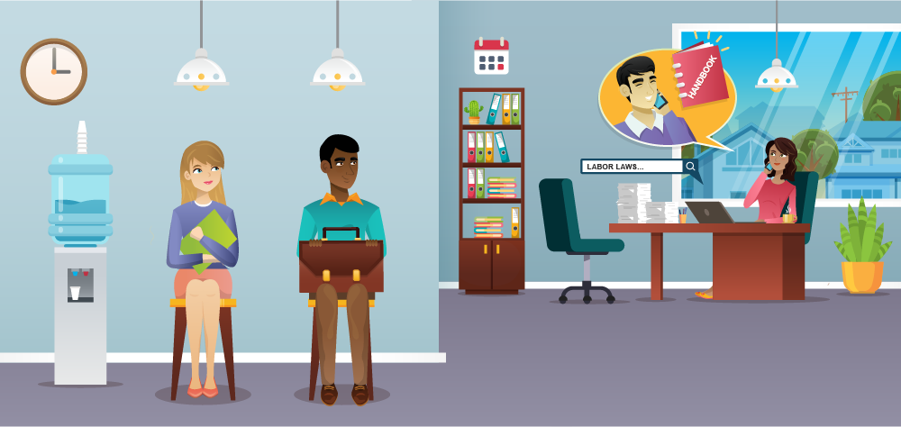 Two people waiting in a human resources office ready to interview - illustration