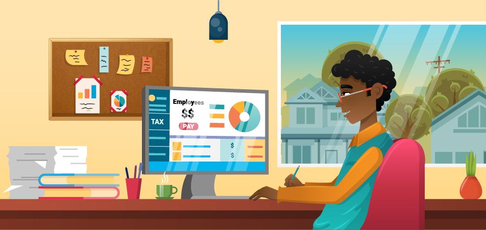 Illustration of an individual at a computer