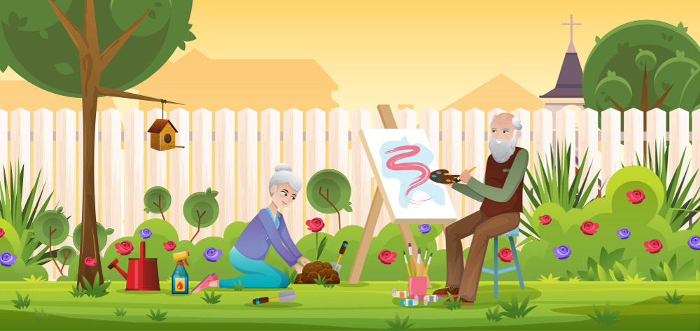 Couple enjoying retirement in garden